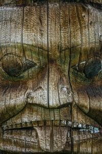 Canada, British Columbia, Kispiox. Detail of totem pole. by Jaynes Gallery