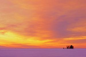 Canada, Manitoba, Clearwater Provincial Park. Winter sunset on Clearwater Lake and Snake Island. by Jaynes Gallery