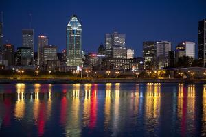 Canada, Quebec, Montreal. Nighttime View of Downtown and River by Jaynes Gallery