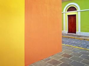 Caribbean, Puerto Rico, San Juan. Door and colorful building walls. by Jaynes Gallery