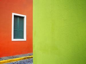 Caribbean, Puerto Rico, San Juan. Window and colorful building walls. by Jaynes Gallery