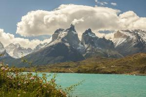 Chile, Patagonia. Lake Pehoe and The Horns mountains. by Jaynes Gallery