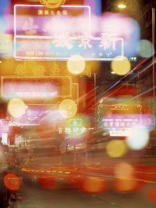 China, Hong Kong. Abstract of city lights at night. by Jaynes Gallery