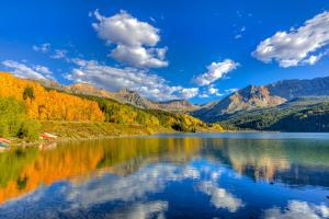 Colorado, Telluride, Trout Lake. Fall Sunset on Lake by Jaynes Gallery