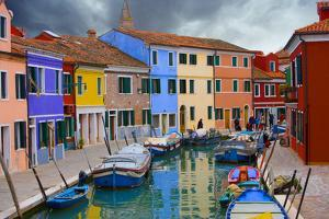 Colorful Buildings Line Canal with Boats, Burano Island, Venice, Italy by Jaynes Gallery