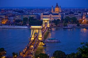 Europe, Hungary, Budapest. Chain Bridge Lit at Night by Jaynes Gallery