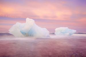 Europe, Iceland, Jokulsarlon Glacier Lagoon. Sunset on Beached Icebergs by Jaynes Gallery