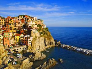 Europe, Italy, Manarola. Hillside Town Overlooking Ocean by Jaynes Gallery