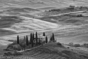Europe, Italy, Tuscany. B&W of Villa in Countryside by Jaynes Gallery