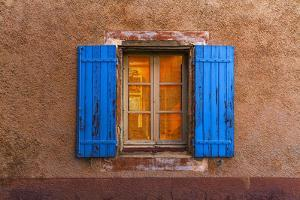 France, Provence, Roussillon. Blue window shutters. and wall. by Jaynes Gallery