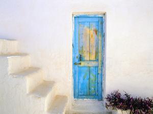 Greece, Nissyros. Weathered door and stairway. by Jaynes Gallery
