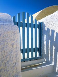 Greece, Santorini, Oia. Blue gate of home. by Jaynes Gallery