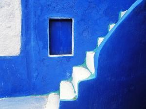 Greece, Santorini, Oia. Blue house and stairway. by Jaynes Gallery