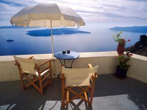 Greece, Santorini, Oia. House balcony with ocean view. by Jaynes Gallery