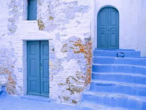 Greece, Symi. Blue doors and stairway of house. by Jaynes Gallery