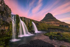 Iceland, Kirkjufellsfoss. Waterfall at sunrise. by Jaynes Gallery