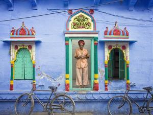 India, Rajasthan, spiritual man in doorway. by Jaynes Gallery