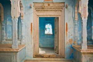 India, Rajasthan. Traditional house entrance. by Jaynes Gallery
