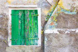 Italy, Burano. Close-up of weathered window shutters. by Jaynes Gallery