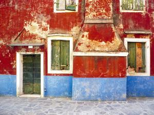 Italy, Burano. Weathered window and walls. by Jaynes Gallery