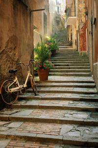 Italy, Cinque Terre, Monterosso. Bicycle and uphill stairway. by Jaynes Gallery
