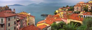 Italy, Liguria, Tellaro. Overview of seaside village. by Jaynes Gallery