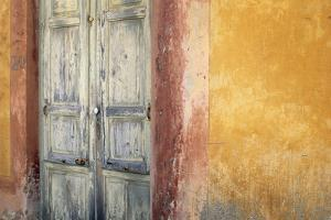 Italy, Lipari. Weathered wall and door. by Jaynes Gallery