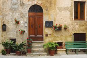 Italy, Pienza. House door. by Jaynes Gallery