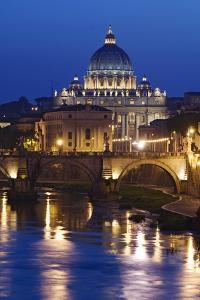 Italy, Rome, St. Peters Basilica, Tiber River night scene. by Jaynes Gallery