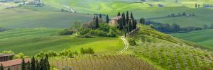 Italy, Val d' Orcia. Il Belvedere farmhouse panoramic. by Jaynes Gallery