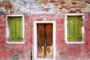 Italy, Veneto, Burano. Weathered house exterior. by Jaynes Gallery
