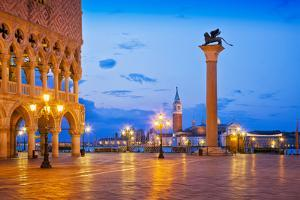 Italy, Venice. Sunset on St. Marks Square. by Jaynes Gallery