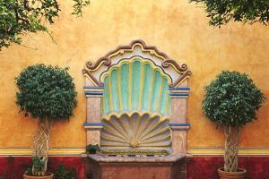 Mexico, Queretaro. Courtyard with fountain. by Jaynes Gallery