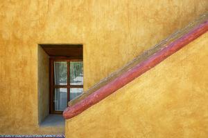 Mexico, Queretaro. Window and stairway of building. by Jaynes Gallery