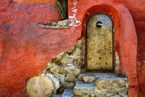 Mexico, San Miguel de Allende. Weathered house door and exterior. by Jaynes Gallery