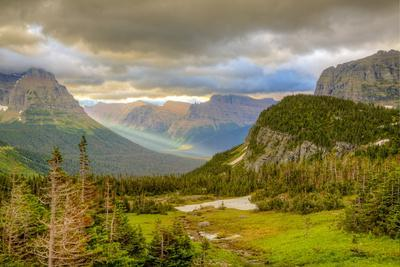 Montana, Glacier National Park, Logan Pass. Sunrise on Mountain Landscape