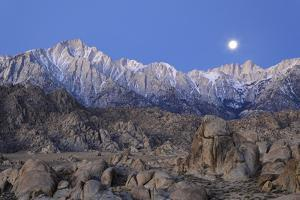 Moonset on Lone Pine Peak and Mt Whitney, California, USA by Jaynes Gallery