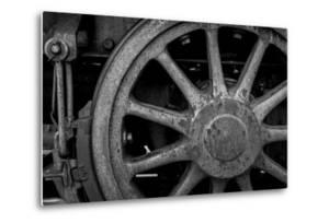 Nevada, Ely. Black and White of Train Wheel by Jaynes Gallery