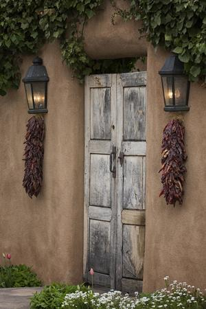 New Mexico, Santa Fe. Weathered Door to Home