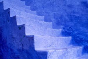 North Africa, Morocco, Chefchaouen. Blue stairs and wall. by Jaynes Gallery
