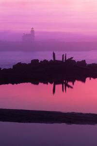 Oregon, Bandon. Coquille River Lighthouse at Dawn in Natural Color by Jaynes Gallery
