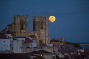 Portugal, Lisbon. Lisbon Cathedral and Full Moon by Jaynes Gallery