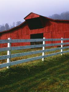 Red Barn and White Fence on Farm, Scott County, Virginia, USA by Jaynes Gallery
