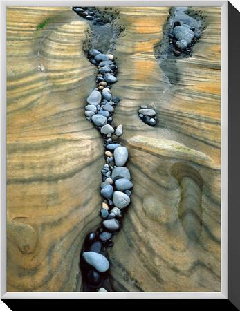Rocks Caught in Sandstone Formations, Seal Rock Beach, Oregon, USA