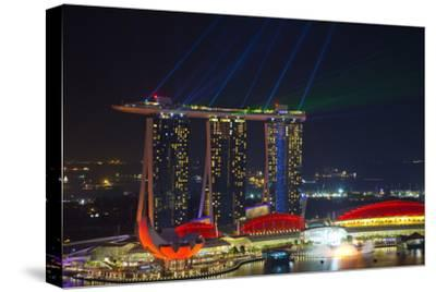 Singapore, Cityscape View and Lightshow of Downtown