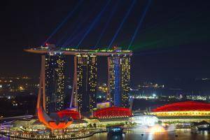 Singapore, Cityscape View and Lightshow of Downtown by Jaynes Gallery