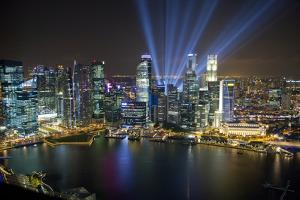 Singapore. Downtown Overview at Night by Jaynes Gallery