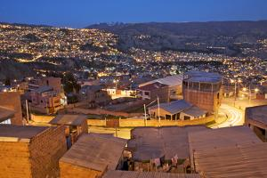 South America, Bolivia, El Alto. City Overlooks La Paz at Twilight by Jaynes Gallery
