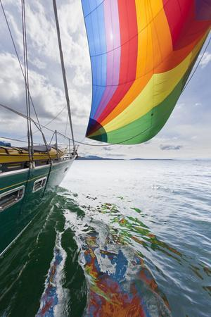 SV Nawalk with Spinnaker Flying, San Juan Islands, Washington, USA