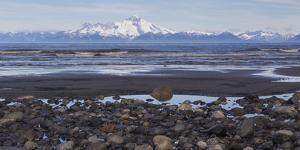 USA, Alaska, Kenai Peninsula. Seascape with Mount Redoubt and beach. by Jaynes Gallery